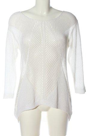 Guess Camisa de ganchillo blanco Patrón de tejido look casual