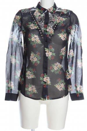 Guess Shirt Blouse black flower pattern classic style
