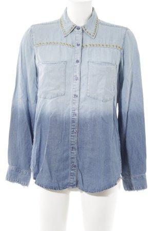 Guess Hemd-Bluse hellblau Farbverlauf Jeans-Optik