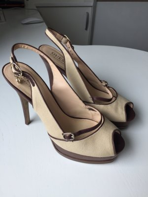 Guess Platform High-Heeled Sandal cream-brown