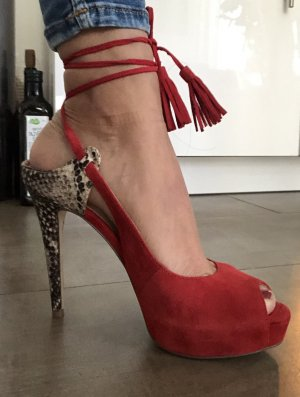 Guess Wedge Pumps dark red-camel