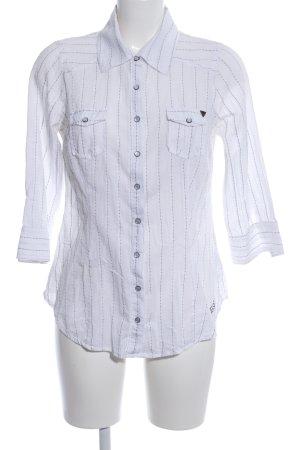 Guess Jeans Hemd-Bluse weiß-schwarz Schriftzug gestickt Casual-Look