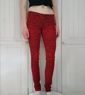 Guess Jeans Röhrenjeans hose röhrenhose w26 34 XS rot schwarz muster