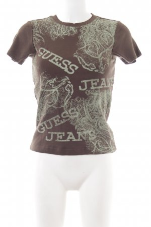 Guess Jeans T-Shirt braun-wollweiß abstraktes Muster Street-Fashion-Look