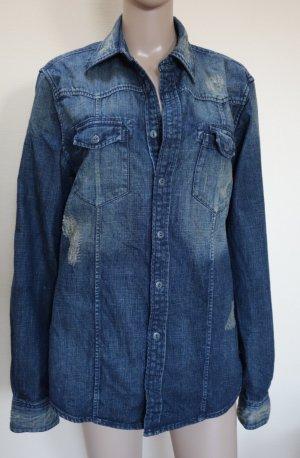 GUESS Los Angeles Blouse en jean bleu foncé-bleu acier