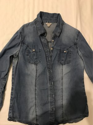 Guess Jeansowa koszula stalowy niebieski