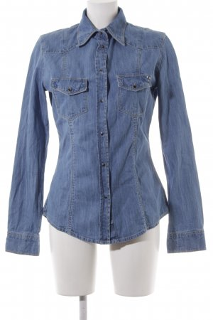 Guess Denim Shirt cornflower blue jeans look