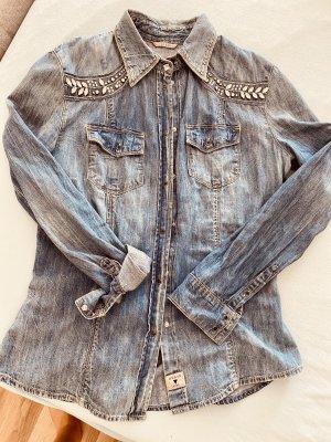 Guess Camicia denim blu acciaio-azzurro