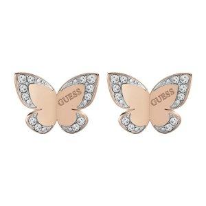 Guess Jewellery Ohrstecker Schmetterling Gold mit Steinen