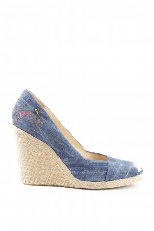 Guess Keil-Pumps blau-creme Casual-Look