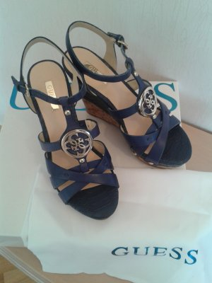 Guess Wedge Sandals blue leather
