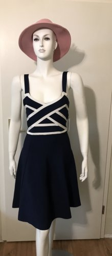 Guess Kleid Sommerkleid Stretch L blau weiß legere