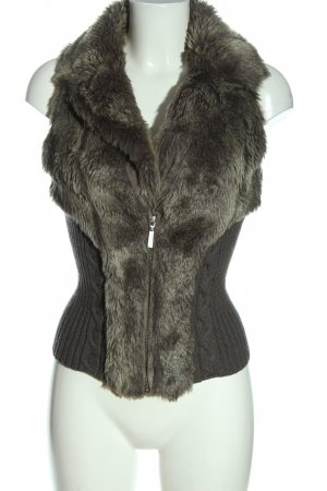 Guess Fake Fur Vest khaki cable stitch elegant