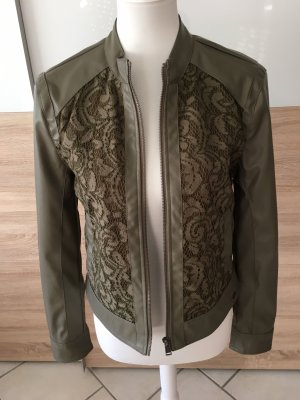 Guess Faux Leather Jacket green grey