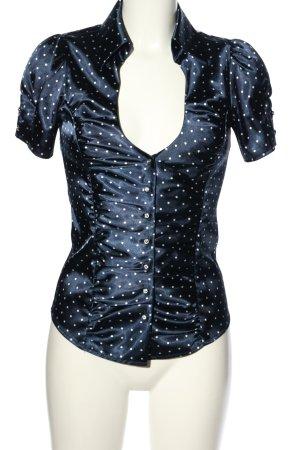 Guess Kurzarm-Bluse blau-weiß Allover-Druck Elegant