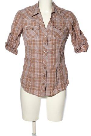 Guess Shirt met korte mouwen bruin-wit volledige print casual uitstraling