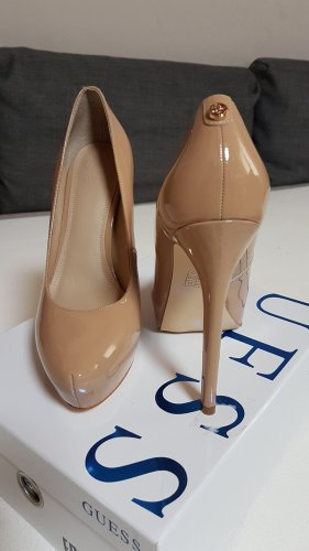 Guess Buty na platformie nude-beżowy Skóra