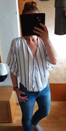 Guess lässige Oversize Bluse Wickel Look Party weiß mit Stahlblau Streifen S /36