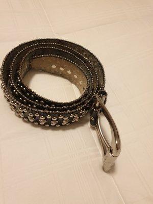Guess Cinturón de cuero negro-color plata