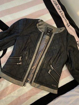 Guess Leather Jacket black-light grey