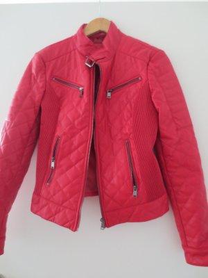 Guess Lederjacke, rot, Gr. 36/S, Stehkragen, nur 3x getragen