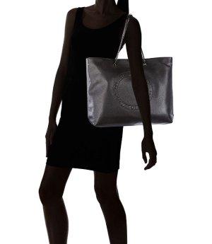 Guess Lily echt Leder Shopper Tote Tasche schwarz & gold