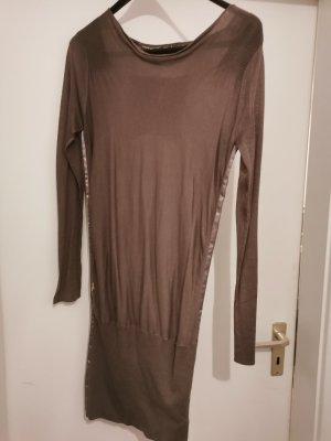 Guess Vestido de manga larga marrón tejido mezclado