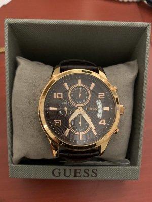 Guess Horloge met lederen riempje goud-donkerbruin