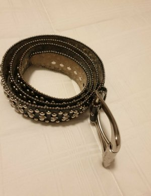 Guess Leather Belt black-silver-colored leather
