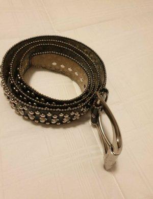 Guess Cintura di pelle nero-argento Pelle
