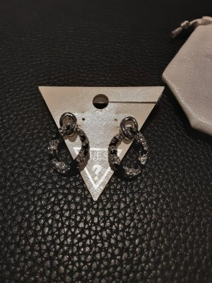 Guess Bungeloorbellen zwart-zilver