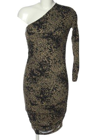 Guess One-Shoulder-Kleid khaki-schwarz Allover-Druck Elegant