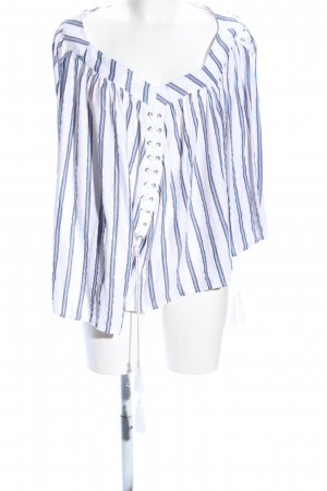 Guess Oversized Bluse weiß-blau Streifenmuster Casual-Look