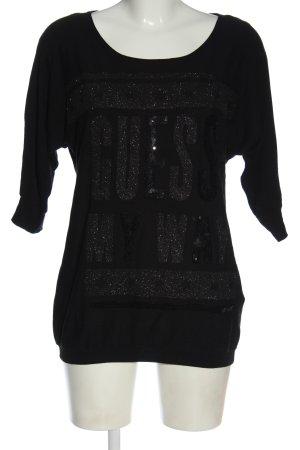 Guess Oversized Pullover schwarz Schriftzug gedruckt Casual-Look