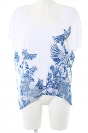 Guess Oversized Shirt weiß-blau Motivdruck Casual-Look