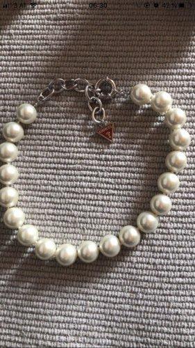 Guess Collar de perlas blanco-color plata