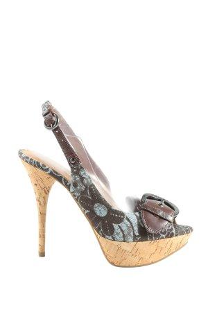 Guess Stivaletto con plateau marrone-grigio chiaro motivo floreale elegante