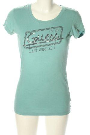 Guess Print-Shirt türkis Schriftzug gedruckt Casual-Look