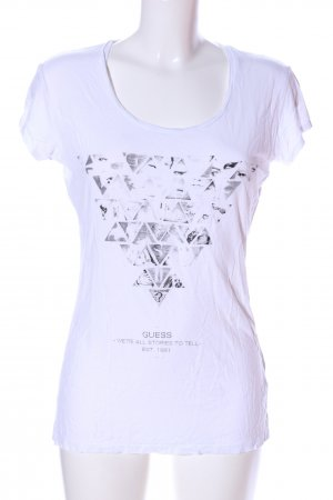 Guess Print-Shirt weiß Motivdruck Casual-Look