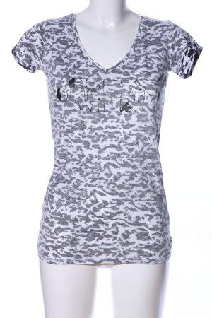 Guess Print-Shirt weiß-schwarz Allover-Druck Casual-Look