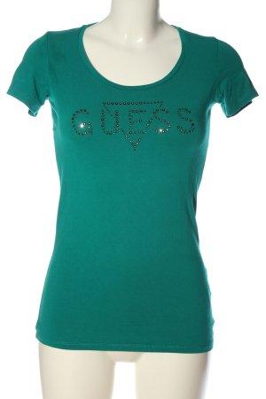 Guess Print-Shirt grün Schriftzug gedruckt Casual-Look