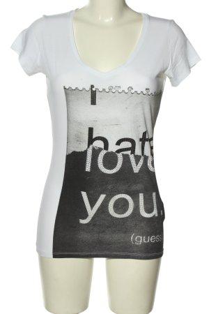 Guess Print-Shirt weiß-schwarz Motivdruck Casual-Look