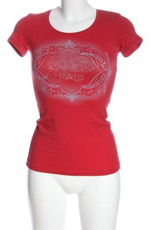 Guess Print-Shirt rot-weiß Motivdruck Casual-Look