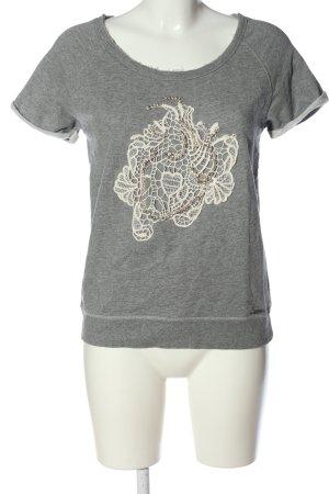 Guess Print-Shirt hellgrau-creme meliert Casual-Look