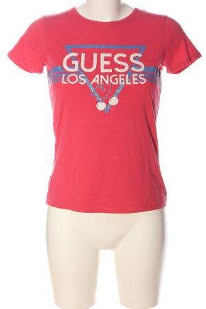 Guess Print-Shirt pink Motivdruck Casual-Look
