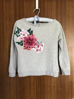 Guess Sweter z krótkim rękawem jasnoszary-malina