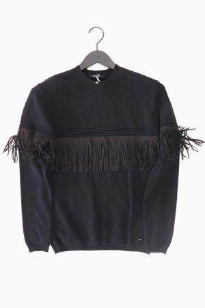 Guess Pullover mit Kunstlederstreifen Größe 36 schwarz aus Viskose
