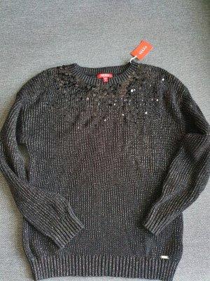 Guess pullover strickpullover schwarz silber  gr. m neu
