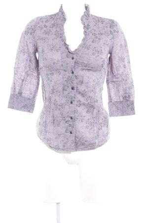 Guess Rüschen-Bluse grauviolett-dunkelgrau Blumenmuster Romantik-Look