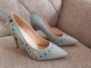 Guess Sabrina gr. 40 Pumps Neu Jeans Nieten blau gold high heels stiletto